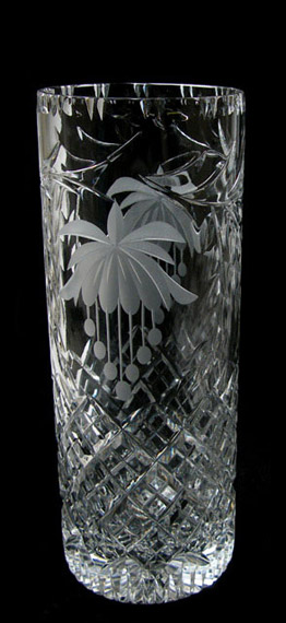 10 Cylinder Vase Fuchsia Tutbury Crystal