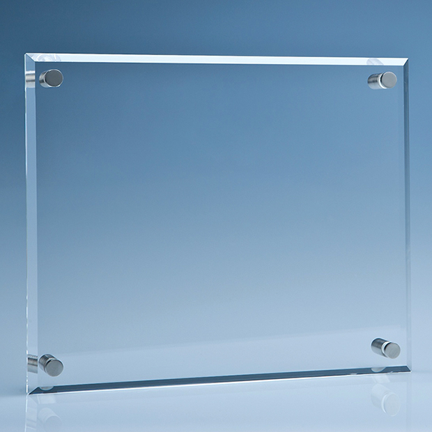 25 5cm x 30 5cm clear glass wall display plaque inc fixing kit