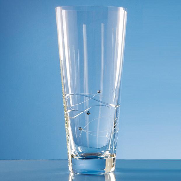 30cm Diamante Conical Vase With Spiral Design Cutting Tutbury Crystal