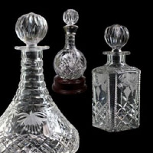 Crystal Decanters, Square and Crystal Ships